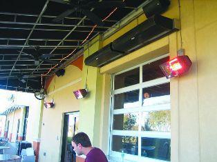 Инфракрасные обогреватели в летнем кафе