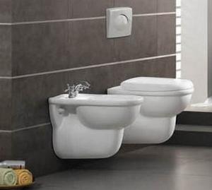 Подвесной унитаз и биде в ванной