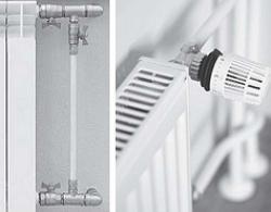 Узел радиатора отопления с байпасом и регулирующей арматурой