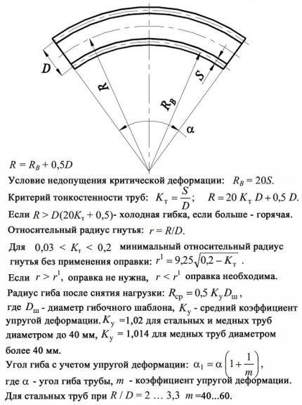 Расчет параметров гибки труб