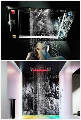 Необычные душевые головки, имитирующие душ на открытом воздухе.