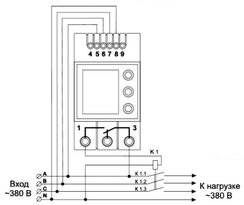 Схема подключения трехфазного реле напряжения